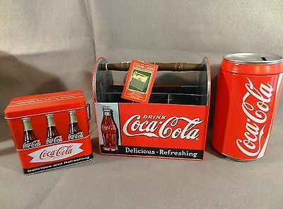 LOT of 3 Metal COCA COLA Soda Collectibles UTENSIL CADDY Tin COKE CAN BANK
