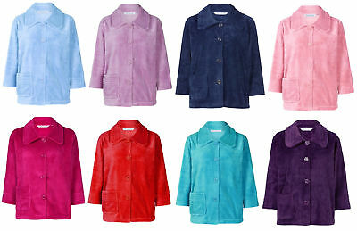 Slenderella Womens Button Up Soft Fleece Bed Jacket Peter Pan Collar  Housecoat 4671d9ef4