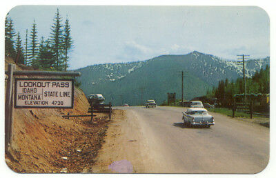 Lookout Pass Sign Idaho Montana State Line Old Cars Hwy 10 Postcard