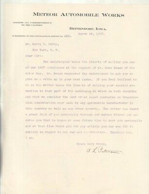 1907 Meteor Automobile Factory Letter Signed by President Bettendorf Iowa wz7025