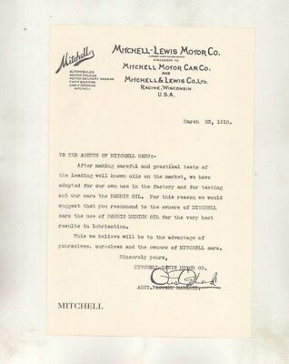 1910 Mitchell & Lewis Automobile Printed Factory Letter Racine WI wz7046