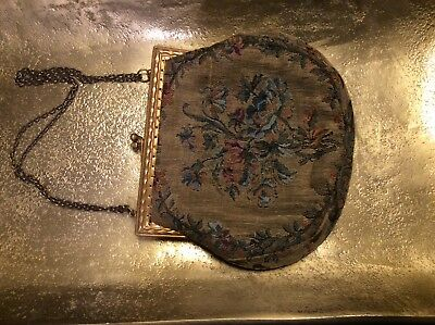 Antique Edwardian French TAPESTRY PURSE fine woven floral rose w mirror