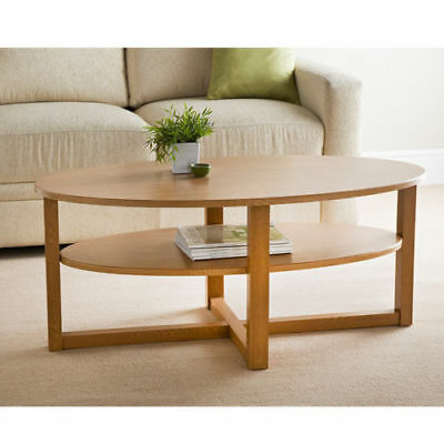High Quality Contemporary Sturdy Oval Shaped Oak Finish Coffee Table Home Decor