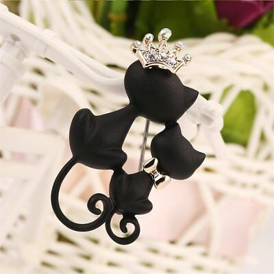 Cats Crown Brooch Pin Zinc Alloy Fashionable Pin Women Clothes Accessory GL
