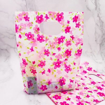 Plastic Gift Bags With Handles Pink Flower Print Mini Jewelry Xmas Boxes 100pcs