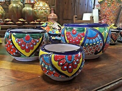 Talavera Mexican Pottery -  Oval Set Of 3 Planters - Colorful