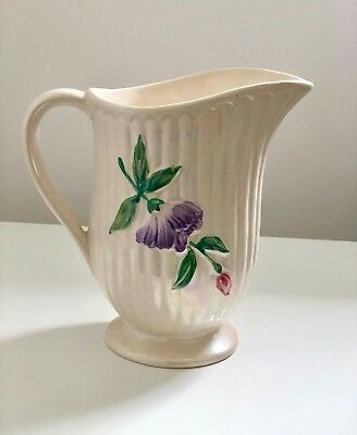 Vintage Pearlescent Lustre Glazed And Ribbed Floral Design Jug.