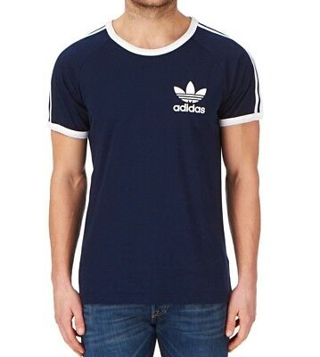 Men's New Adidas Originals Trefoil Logo T-Shirt Top - Navy Blue - Retro Vintage