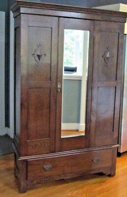 Antique All Wood Knock-down Armoire with Chest & Mirrored Door Wardrobe