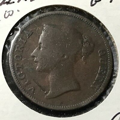 1845 British East India Company 1 Cent Large Copper Coin