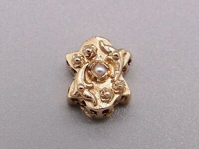 14k Yellow Gold Round Seed Pearl Flower Slide Bracelet Charm
