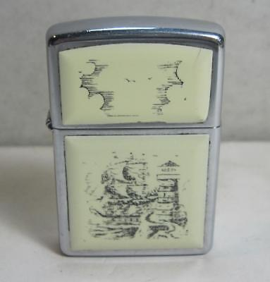ZIPPO H XIII 1997 Scrimshaw Style Whale, Whale Hunters & Ship Lighter