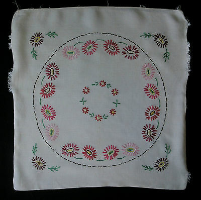 Vtg c40s-50s embroidered rayon cushion cover, panel for project, floral pinks