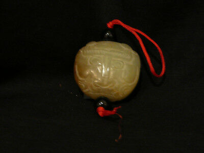 Vintage Carved Green Jade Stone Chinese Pendant Necklace Netsuke Tiger Head