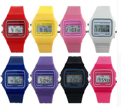 NO CASIO gold silver Watch digital watch square military unisex yellow blue