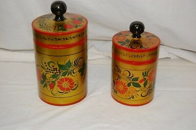 Pair of Russian Hand Painted Gold Red Wooden Khokhloma Canisters Jars Pre-owned