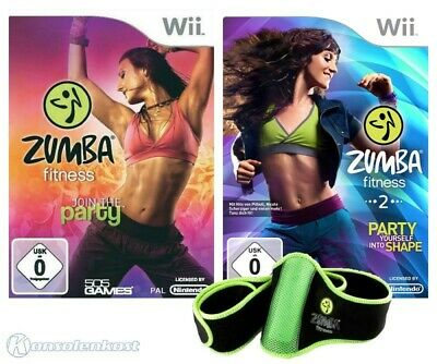 Wii Zumba Fitness 1 & 2 Join Party + Party yourself into Shape + Hüftgürtel, OVP