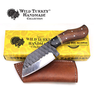 Wild Turkey Handmade Collection Full Tang Fixed Blade Knife w/Leather Sheath