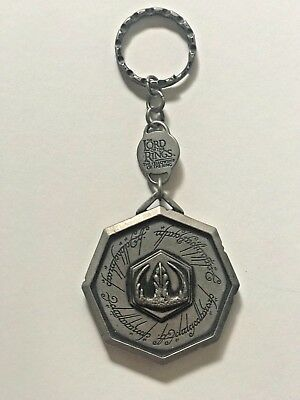 Lord of the Rings Large Keychain Silver Pewter 2001 Fellowship of the Ring