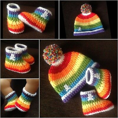 Crochet Baby Boy girl rainbow teddy booties & hat set 0-6 Months red christmas