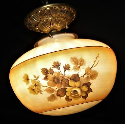 Deco Era Flush Mount Glass Shade Chandelier Ceiling Fixture Pendant