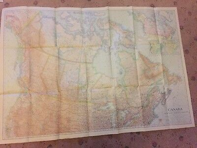 Vintage Canada map. National Geographic, Original, circa 1936 COLOUR