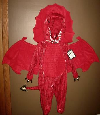 NWT Pottery Barn Kids 2 Piece RED DRAGON Halloween Costume Child Boys Size 4 - 6
