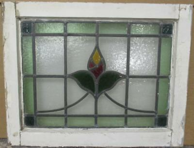 """OLD ENGLISH LEADED STAINED GLASS WINDOW Pretty Bordered Floral Sweep 21"""" x 16.5"""""""