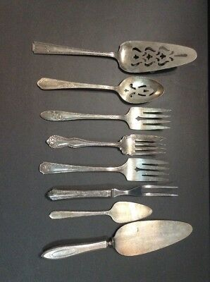 Vintage Silver Plated Silverware Serving Utensils Forks Spoon Pie& Cake Server