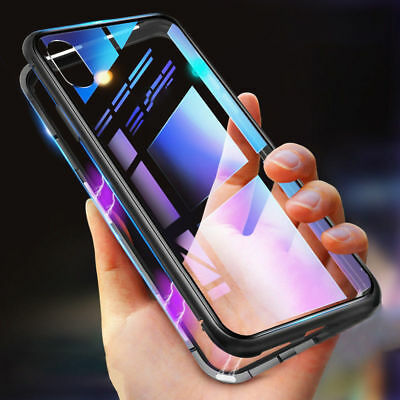 Metal Magnetic Adsorption Case For iPhone XS Max XR Luxury Tempered Glass Cover