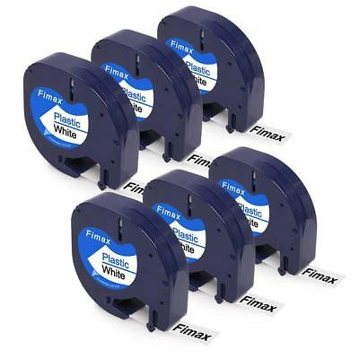 NEW 91331 Black on White Label Tape Compatible DYMO Letratag 91331 12mm 6 Packs