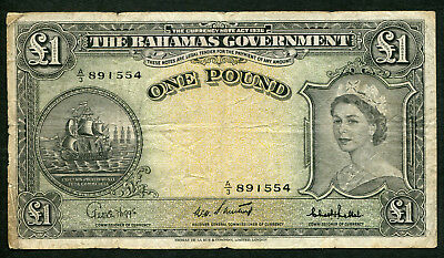 The Bahamas Government ONE POUND 1953 P.15c VG