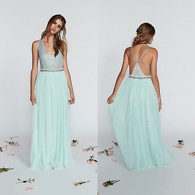 27417feb58 FREE PEOPLE CLEO Bead and Embroidery Detail Maxi Dress Gown Size 2 ...