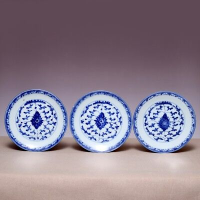 3 Chinese Porcelain Qing Dynasty Jiaqing Old Plate Blue and white Flowers Dish