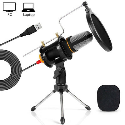 Tonor Pro Condenser Microphone 3.5mm USB w/Tripod Stand f PC Game Studio Skype
