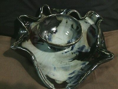 Unique Modern Art Studio Pottery Hand Thrown Blue/Black Drip Glaze Dip Tray