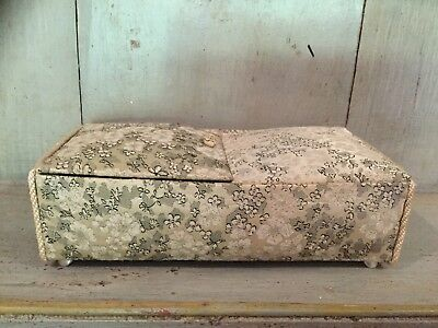 VINTAGE, CHINESE/ ORIENTAL SILK COVERED BOX Red Velvet Lining Jewellery Box