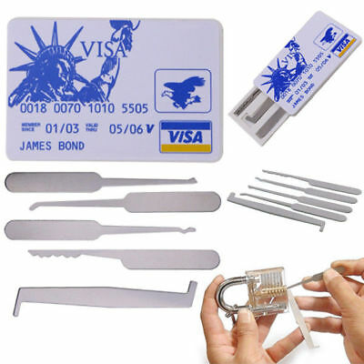 5PCS Unlocking Lock Pick Set Practice Padlock Opener Locksmith Training Tool