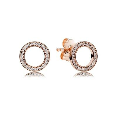 Authentic PANDORA Rose Gold Forever CZ Stud Earrings 280585CZ
