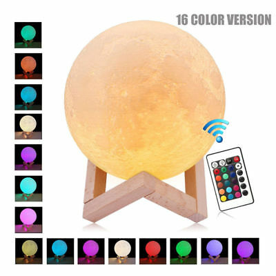 3D Moon Lamp USB LED Night Light Moonlight Touch 16Color Changing Remote Control
