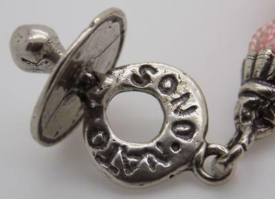 Vintage Solid Silver Italian Made Pacifier Dummy w/t Tassel Mini, Stamped