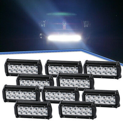 10Pcs 7Inch 36W LED Work Driving Light Bar Spotlight Offroad Lamp UTV Truck Boat