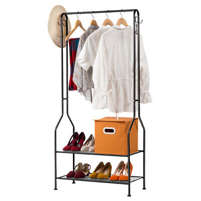 Coat Hat Clothe Rack Hanger Stand Metal Holder Shoe Storage Shelf 2-Tier Hallway