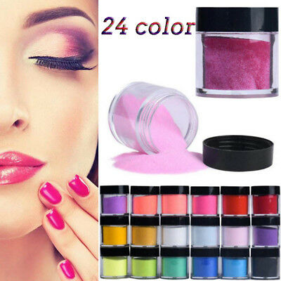 24 Colors Acrylic Nail Art Tips UV Gel Powder Dust Design Decoration 3D Manicure