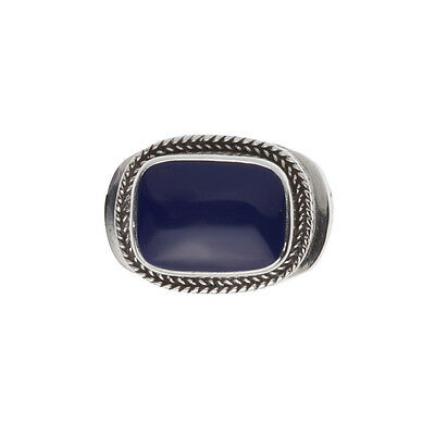 Savati ~ Sterling Silver Byzantine Men's Band Ring with Lapis Lazuli