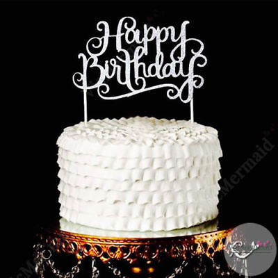 Glitter Happy Birthday Cake Topper Gold or Silver Aus  Seller Fast Postage