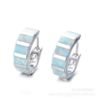 Fashion Silver Filled White Fire Opal Hoop Earrings for Women Wedding Jewelry