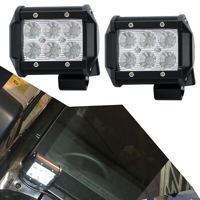 Pair 18W 4in Flood LED Driving Lights Backup Lights for Dodge Boat Tractors Jeep