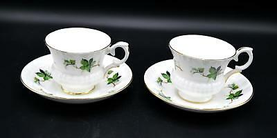 Pair of 2 Vintage Crown Staffordshire Cups & Saucers - Ivy Pattern - England