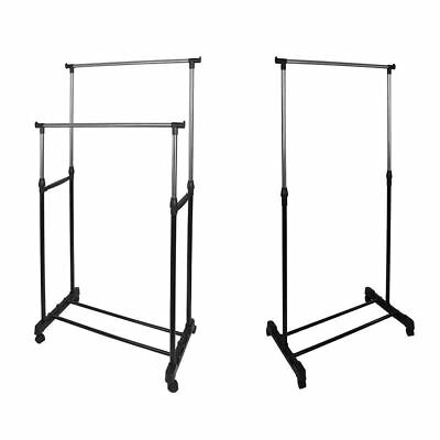 New Mobile Single Double Adjustable Portable Clothes Rail Rack with Wheels